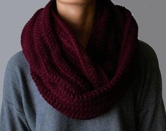 Maroon Infinity Scarf Crocheted Chunky