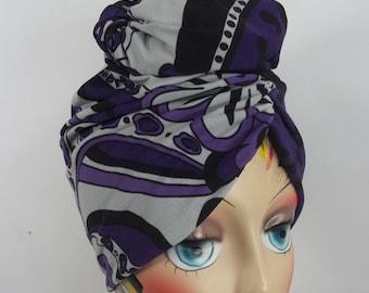 Purple, knit, fashion turban, hat, vintage style, full turban, designer, head wear, sizes Sm, Med, L, XL . Free shipping in USA.