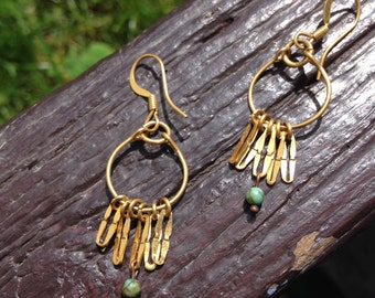 small earrings gold and turquoise African