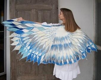 Impressive wing scarf, nuno felted winged scarf,  white blue bird wings, Angel wings, felt poncho, bohemian fashion, wearable art . OOAK