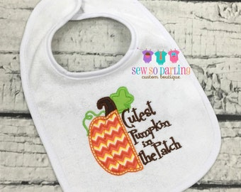 Pumpkin Baby Bib - Pumpkin Bib - Fall Bib - Thanksgiving Bib