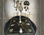 "Pattern: Wool Applique Tree Skirt and matching Ornaments by Heart to Hand -""Snowy Forest"""
