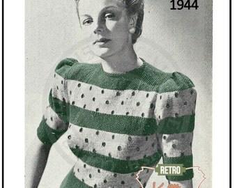 Lady's Striped Blouse 1940's Vintage Knitting Pattern - PDF Knitting Pattern - PDF Instant Download
