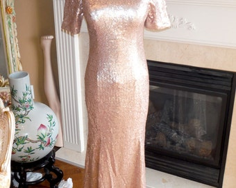 Champagne sequin dress, mother of the bride dress, champagne bridesmaid dress, sequin prom dress