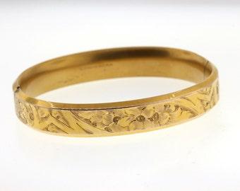 Antique Gold-Filled Hinged Bangle, Art Nouveau Bracelet