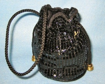 Evening Pouch-Black Sequence Pouch Bag.