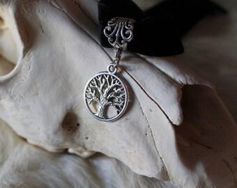 Tree Of Life, Yggdrasil, Silver Tree, Viking, Celtic Velvet Choker Necklace
