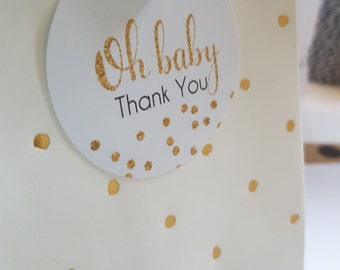Gold Glitter Confetti Oh Baby Thank you Gift Tags/ Baby Shower Favour Tags x 50