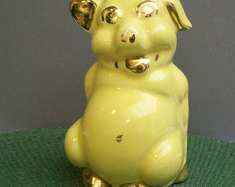 Vintage SMILING PIGGY Piggy Bank – Yellow with Gold Highlights – Ceramic – Very Cute -