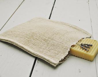 Hemp Wash Mitt / Antique handwoven fabric / Hand loom organic fibers