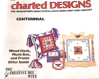 Charted Designs Centennial Patten, Wood Clock, Music Box, Frame, No 0012, The Creative Bee Hive, Needlepoint, Cross Stitch, Latch Hook