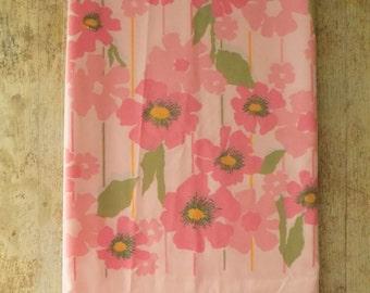 Vintage Mid Century Mod Pink Floral Twin Flat Bed Sheet | MCM Mod Flower Power Bedding