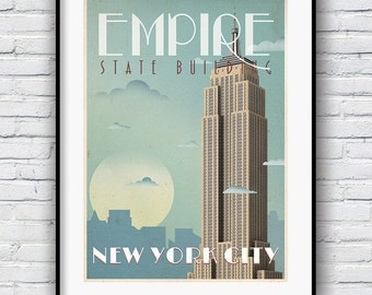 Art Deco New York Poster, Empire State Building, New York Print, Retro Poster, New York Poster, New York City