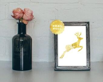 Floral Deer Gold Real Foil - Gold Doe Print - Gold Deer Print - Deer Art Print - Gold Antler Print - Gold Foil Print - Gold Rustic Decor