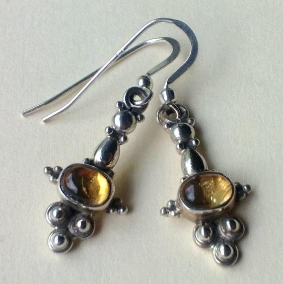 Citrine Drop Earrings, Sterling Silver Citrine Jewelry, Sun Stone Jewelry, Yellow Stone Earrings