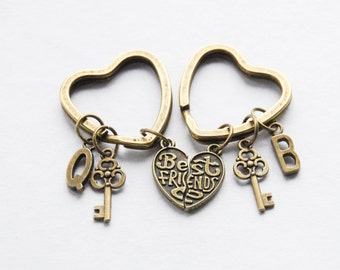 Housewarming Gift Best friend keychains Best friends gifts friendship keychain best friend gift bff gift keychain Heart Skeleton Key