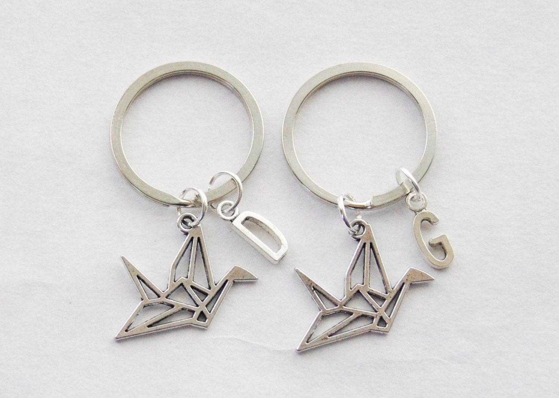 Best Friend Keychains Paper Crane Keychains 2 Origami Crane