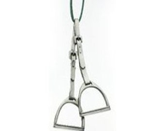 English Horseback Riding Stirrups Equestrian Pewter Christmas Ornament for Horse Lovers Made in Canada