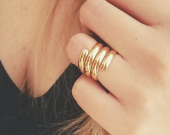 Gold Swirl Ring - Statement Ring - Stacking Ring - Layer Ring - 18k Gold Plated - R04-G