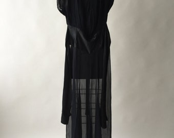 """30s sheer black silk chiffon gown with charmeuse sash and rhinestone buttons / S / 28"""" waist"""