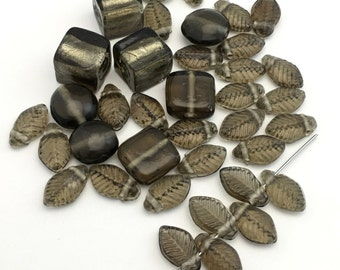 36 glass beads mixed shapes smoke shades  #PV118