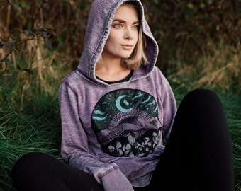 Purple Mountain Fleece Lined Festival Hoodie - Glow in the Dark Moon Sky and Crystal Hoodie - Distressed Acid Wash Zen Hippie Boho Pullover