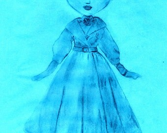 Audery Hepburn, Pullip ORIGINAL art, Fifties, Sixties, Anime style, Cute girl, Pencil drawing, Retro, Illustration.