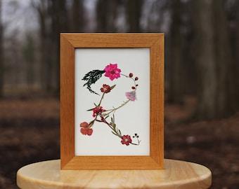 5x7 DRIED FLOWERS MONOGRAM 'R' || Pressed Floral Arrangements