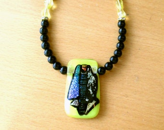 Dichroic Necklace, Dichroic Pendant With Black Onyx & Yellow Glass Bead Necklace