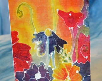 Blank Greeting Card with Original Batik Artwork Print Poppy Field