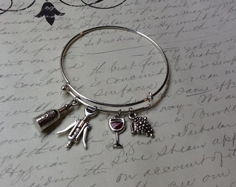 Wine lover charm bracelet