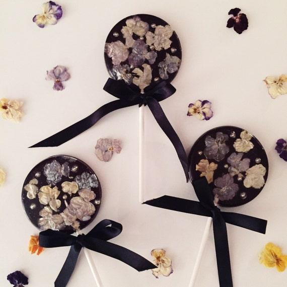 3 Midnight Blooms Edible Viola Lollipops