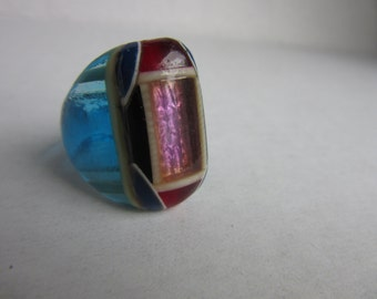 vintage plastic celluloid ring / folk art prison ring / Bob Dodd ring / size 6.5