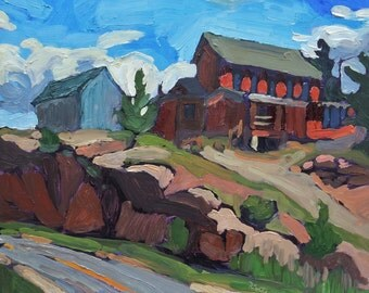 House on the Hill, plein air, colorado painting, impressionist, original signed artwork, landscape