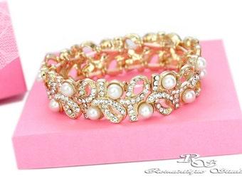 GOLD Bridal bracelet, Pearl wedding bracelet, Bridal jewelry, Pearl bracelet, Bridesmaid bracelet, Pearl Wedding accessories B0175G