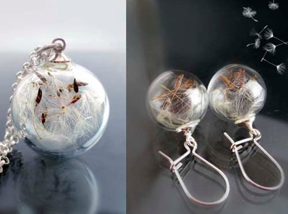 Set dandelion earrings and necklace sterling silver 925: seeds make a wish real flowers romantic gift elegant