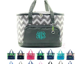 "Monogrammed Cooler Bag Large Picnic Beach Basket Tote Bag Oversized XL 24"" Insulated Thermal Personalized Monogram Chevron Damask Anchor"
