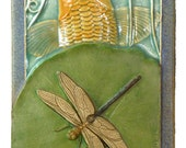 Dragonfly & Koi, art tile, 4x8 inches