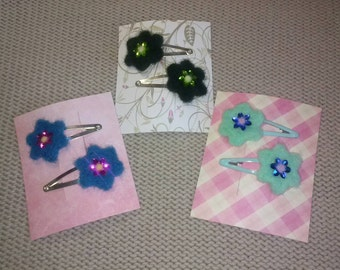 Pack of Two Flower Hair Clips, Needle Felted Flower Hairclips, Various Colours Available.