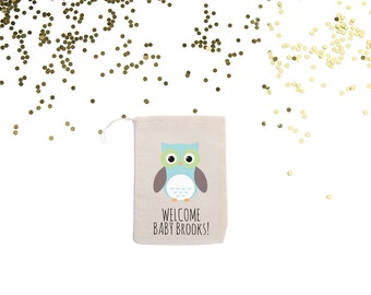 Pastel Owl {set of 10} Personalized Baby Shower Bags