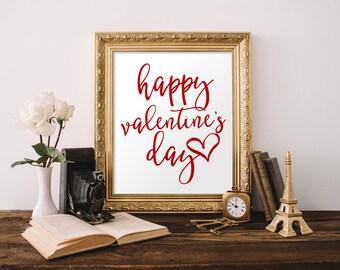 Happy Valentine's Day Printable, Valentine's Day Printable, Valentine's Day Decor, 8x10 Printable, Valentine's Day Sign, Love Sign