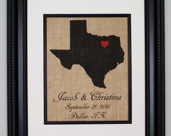 Personalized Burlap Wedding Location / Desired Location, Burlap Print, Burlap Wall Art, Burlap Sign with Names and Date