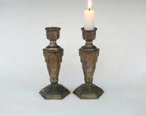 Antique Solid Metal Candlesticks, Pair of Vintage Metal Figural Candle Holders with Hexagon Base, Art Deco Candlesticks, French Decor