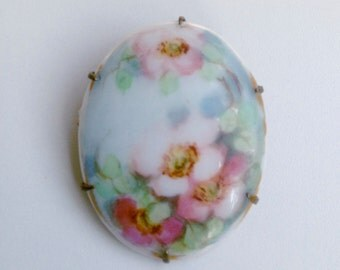 Victorian Pink and Green Roses Hand Painted Porcelain Pin Brooch