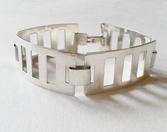 Modernist sterling silver bracelet, Poland (F441)