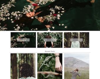 "Blogger Template ""La Rochelle"" Premade Photography Grid Design // Blog Portfolio Blogspot Theme"