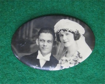 Gorgeous 1920's Celluloid Photo Wedding Remembrance Pocket Mirror - Young Couple Looks To The Future - Free Shipping