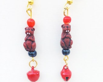 Beaver Earrings with Bells