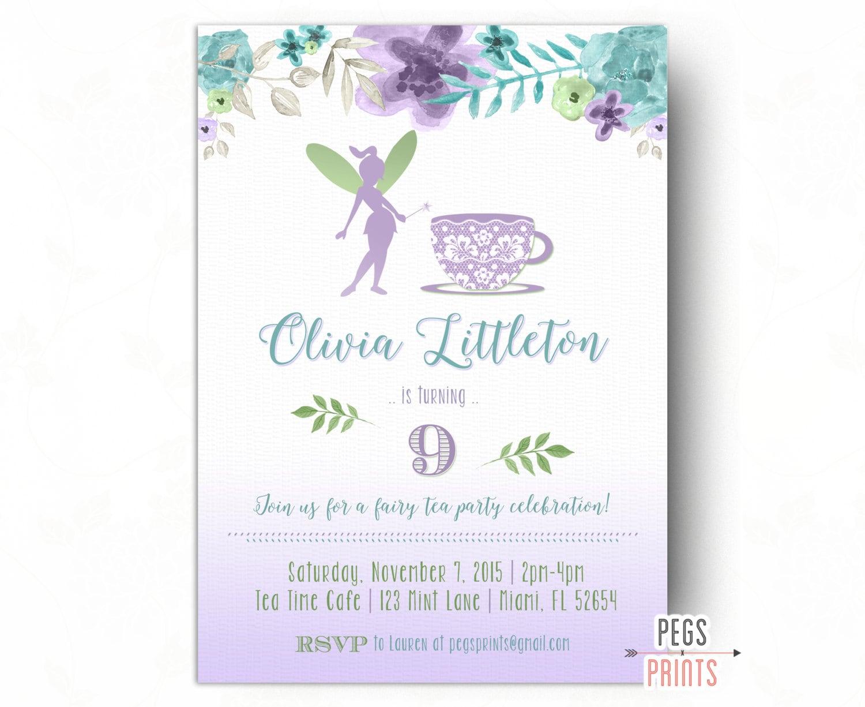 Fairy Tea Party Invitation Fairy Birthday Invitation Fairy