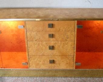 Founders Furniture Milo Baughman Thomasville, 1970s Mid Century Modern Burled Wood Brass Smoke Glass Bar Console TV Cabinet Credenza